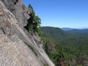 Rock climber's view of the cliffs on Sugarloaf Mountain in the Adirondacks.