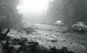 Route 73 a half-hour after the flood surged onto the highway