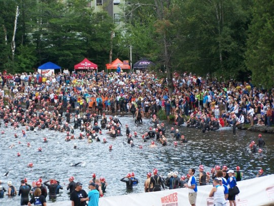Crowd at the Beach for lake placid ironman