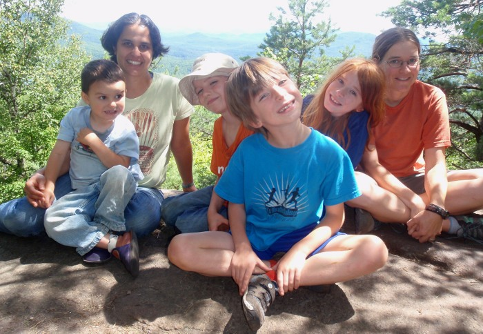 On the summit of Baker are, left to right: Oliver, Sunita, Galen, Casey, Elliot, and Jessica.