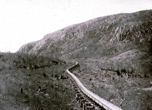 Log sluice and stripped mountainside, near Elizabethtown, 1880s