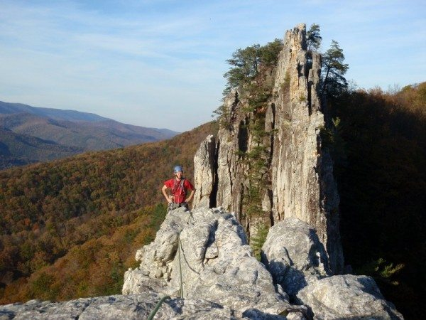 Phil Brown nears the top of South Peak at Seneca Rocks.