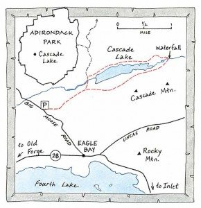 cascade lake near inlet map by Nancy Bernstein