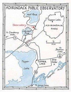 Adirondack Public Observatory (Map by Nancy Bernstein)