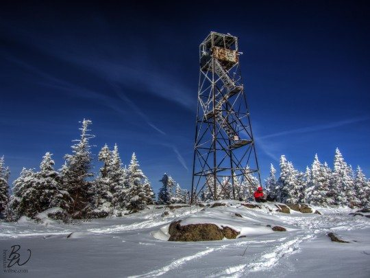 St Regis Mountain Fire Tower in Winter
