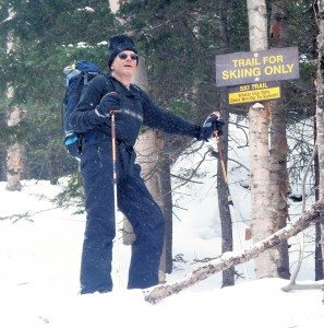 Marty Plante on Algonquin Trail, skiing to Wright Peak