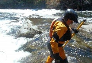 Bob scouting the Big Drop on the Schroon River