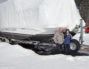 LGPC ED Dave Wick and LGA Educator Jill Trunko seal the FC as part of the Frozen Boats Program