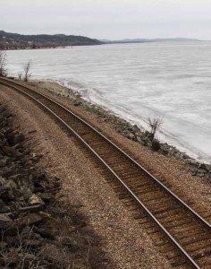 Canadian Pacific's tracks parallel the shore of Lake Champlain (Photo by Seth Lang)