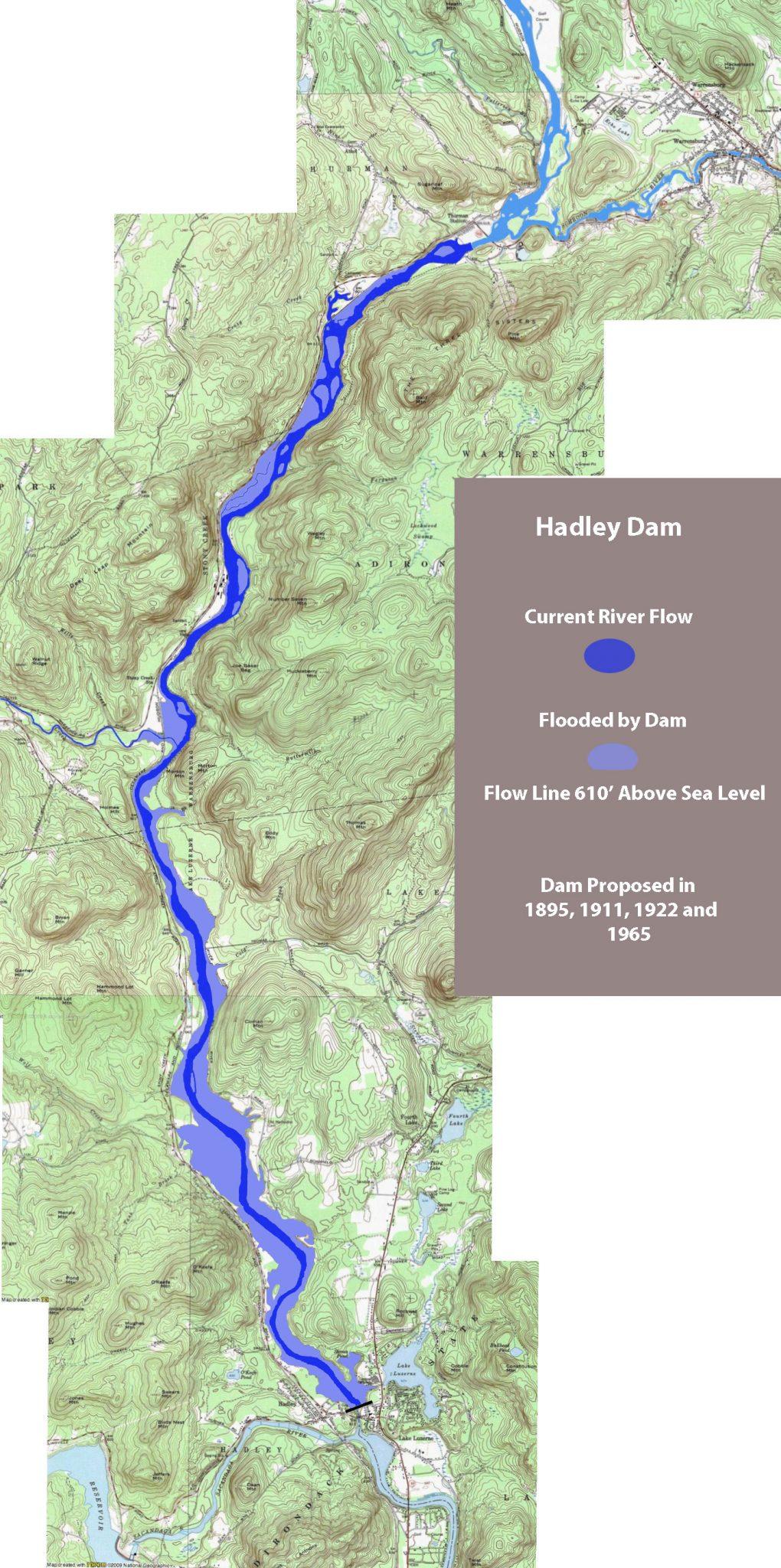 Hudson River History The Big Hadley And Glen Dams  The - New york map hudson river