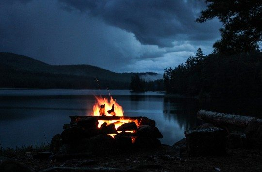 Campfire between storms