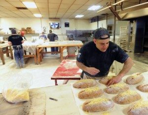 Matt Funiciello at work in his bakery May 2014