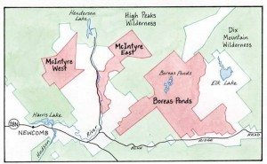 McIntyre Tracts this year and Boreas Ponds map by Nancy Bernstein
