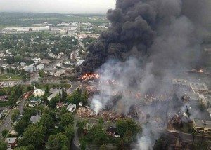 Rail accident in Lac Megantic, Quebec in 2013 (Wikimedia photo)
