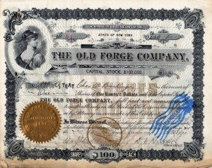 Old Forge Co Stock Cert002