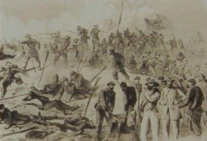 Alfred Waud's sketch of the 7th breaching the Confederate line June 3, 1864