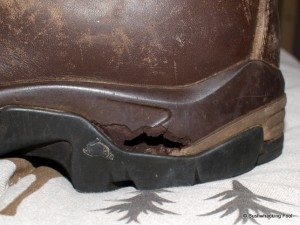 Gouge in hiking boot