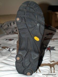 Old left hiking boot sole