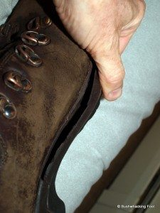 Separating sole on inner left boot