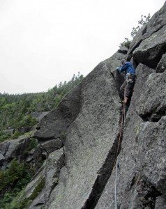 Adam Crofoot during the first ascent of Wreck of the Lichen Fitzgerald.