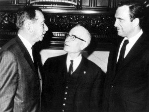 Lt Gov Malcolm Wilson, Harry McDougal, NYS Senator Ron Stafford (Lake George Mirror file photo)