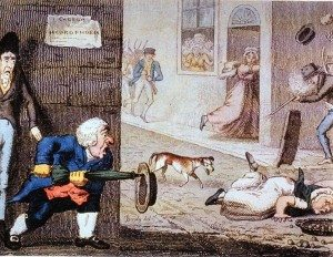 Rabies cartoon circa 1826