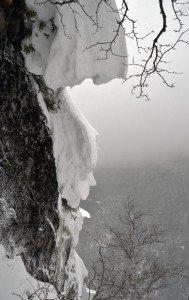 Corniced cliff edge on Colden's Wine Bottle Slide