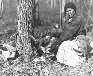 Native Woman collecting sap