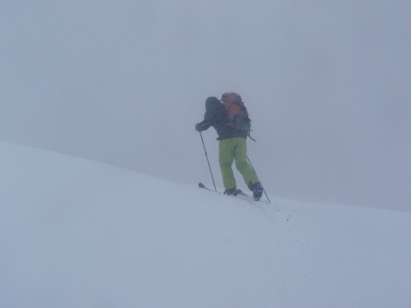 Tim Peartree ascends Mount Marcy in a whiteout Sunday. Photos by Phil Brown.