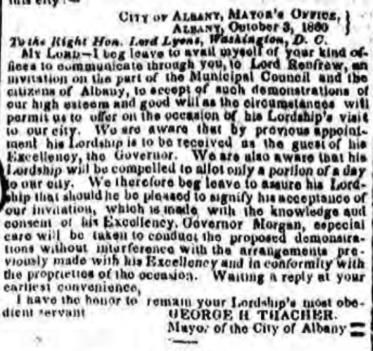 Albany Argus 10161860 GHT letter to Lord Lyons