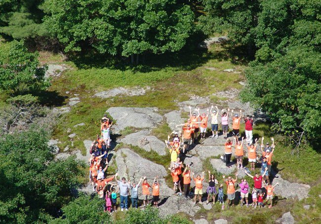 "Photo of the Cook Mountain Preserve hiking group spelling out ""LG"" at last year's Hike-A-Thon by Carl Heilman II/Wild Visions (provided)."