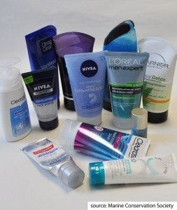 products with microbeads (photo by Marine Conservation Society)