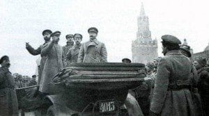 Leon Trotsky and Ephraim Sklyansky Red Square review of Moscow troops October 14 1918