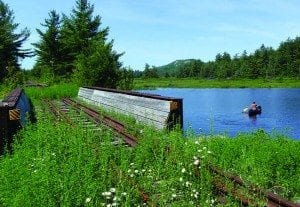 Railroad crossing over Bog River. Photo by Phil Brown