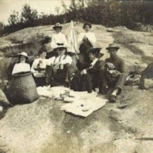 Cathy Pedler's family on the summit of Pharoah Mountain around 1900