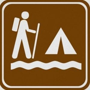 Hiking and Camping Sign - Public Domain Promotional Image