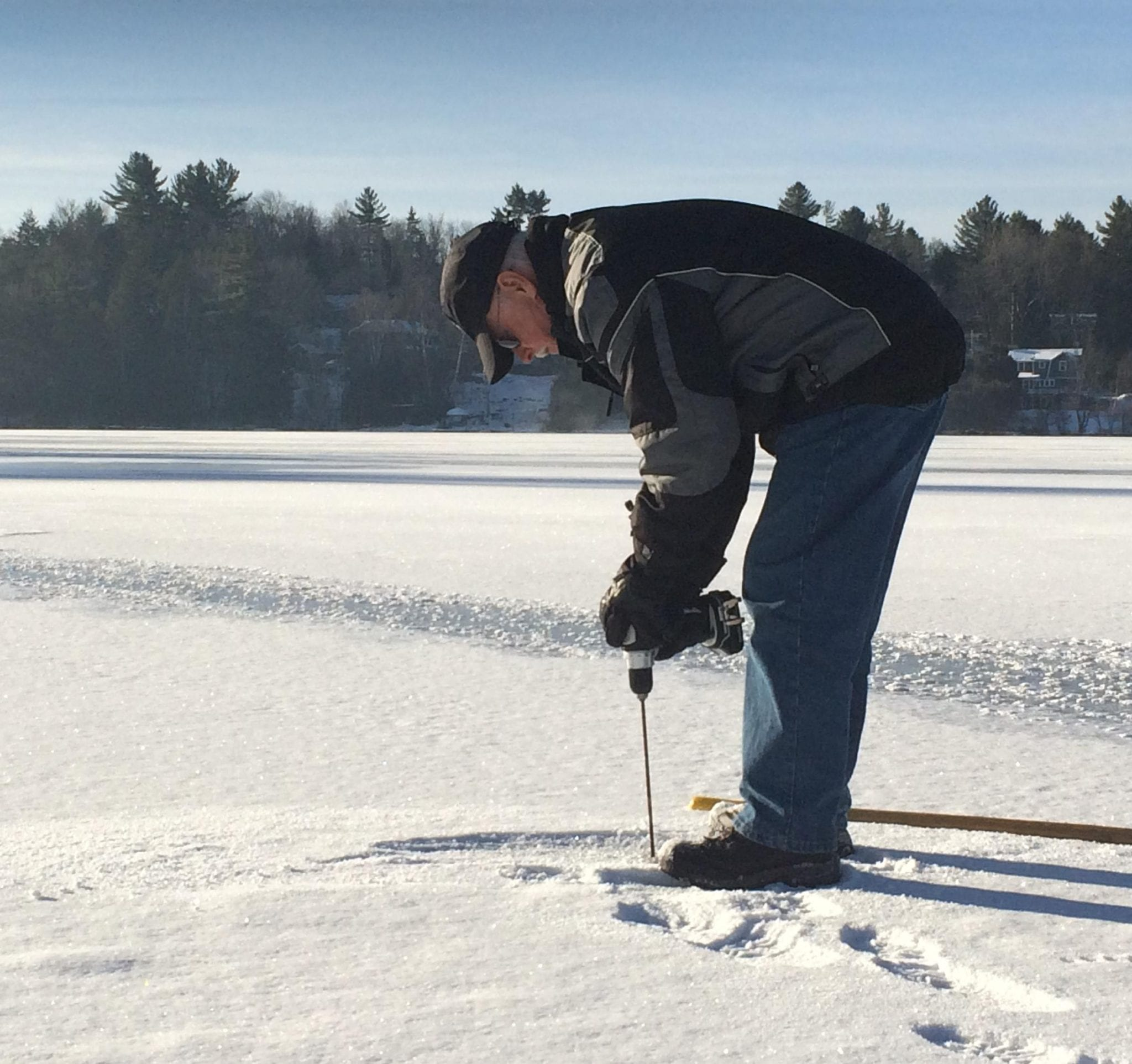Dean Baker Measures Ice Thickness