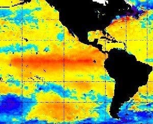 Orange shows above normal warmth of equatorial surface waters in Pacific driving the 2015-16 El Nino - NOAA image