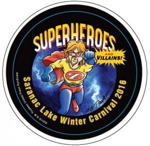 Saranac Lake Winter Carnival 2016 Button - Superhero