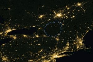 Adirondacks Night Sky From Space - Composite Image from NASA and NOAA