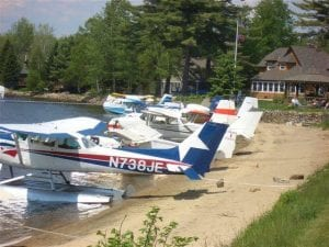 Aircraft at Speculator Village Beach during the 2015 Speculator Pilot Weekend (Provided).