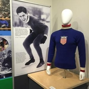 Jack Shea's 1932 Olympic sweater and a panel about his impact on the sport in Lake Placid and worldwide is part of the exhibit