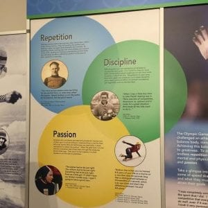 Part of the display features all the attributes required to become a champion speed skater