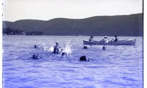 Women recreating on Lake George, circa 1917