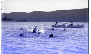 Women recreating on Lake George, circa 1917