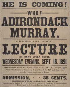 A vintage poster reminds us of the celebrity of W.H.H. Murray