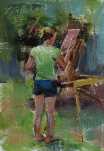Painting of an artist, by Patricia Bellerose, of Ontario