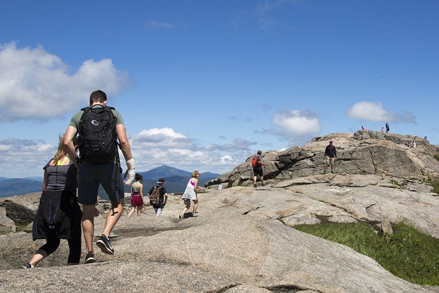 A crowd of hikers on Cascade Mountain (photo by Mike Lynch)