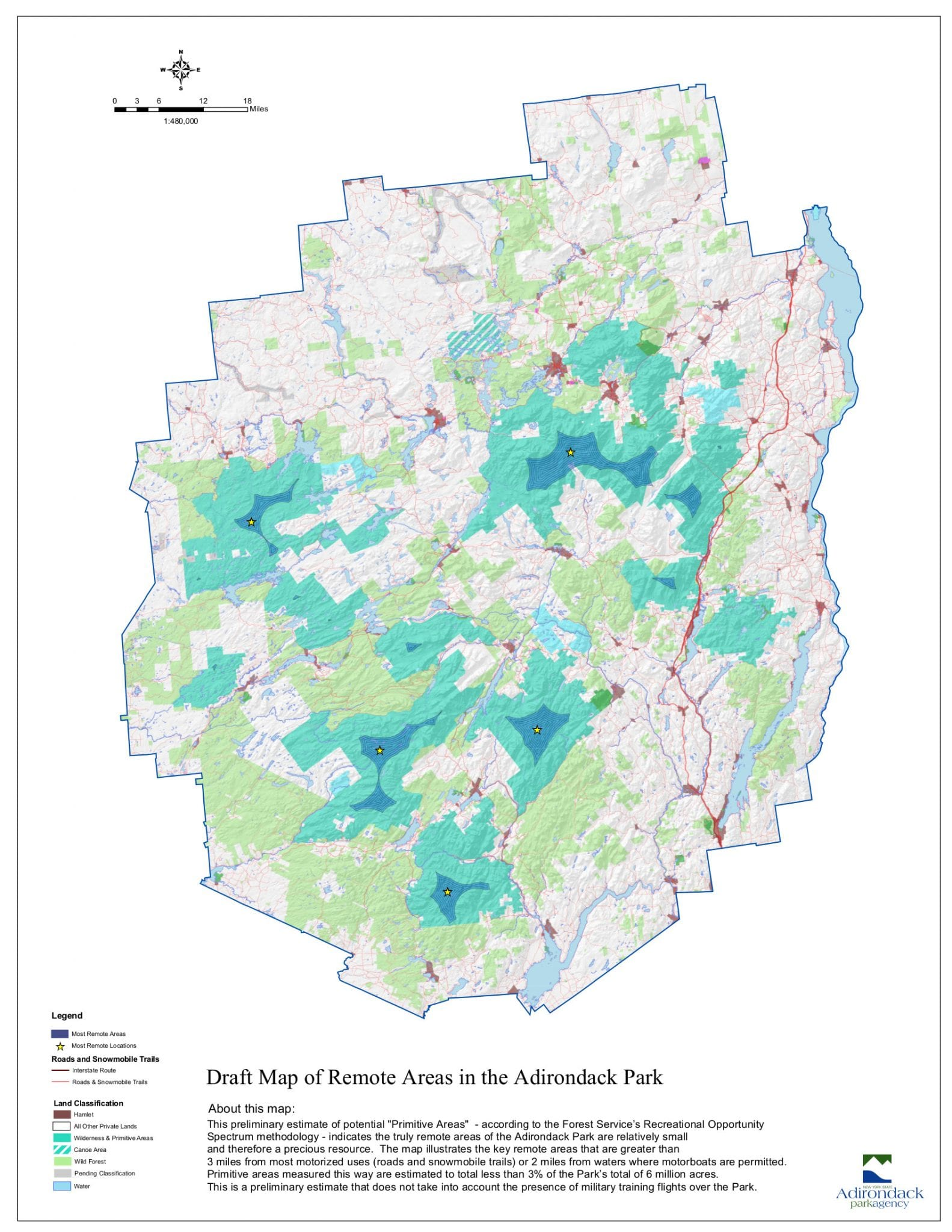 The Map of Adirondack Remoteness and Boreas Ponds   The