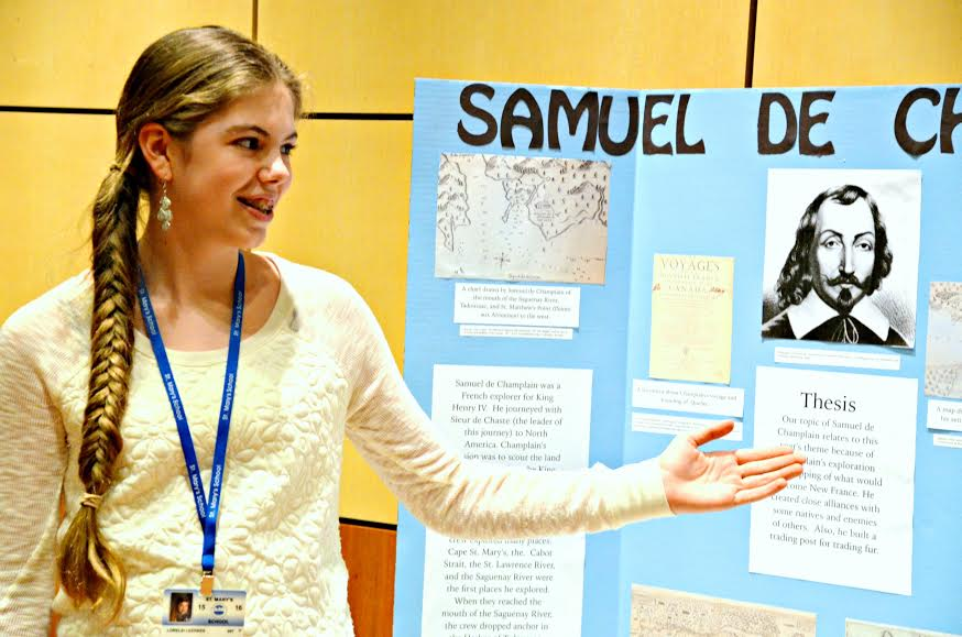 A student from St. Mary's School talks with judges about her project at last year's North Country History Day